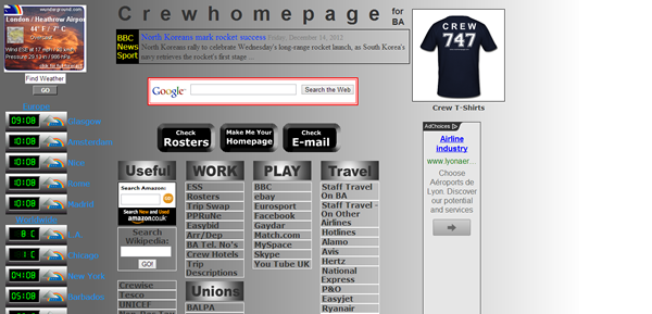 Crew Homepage for BA